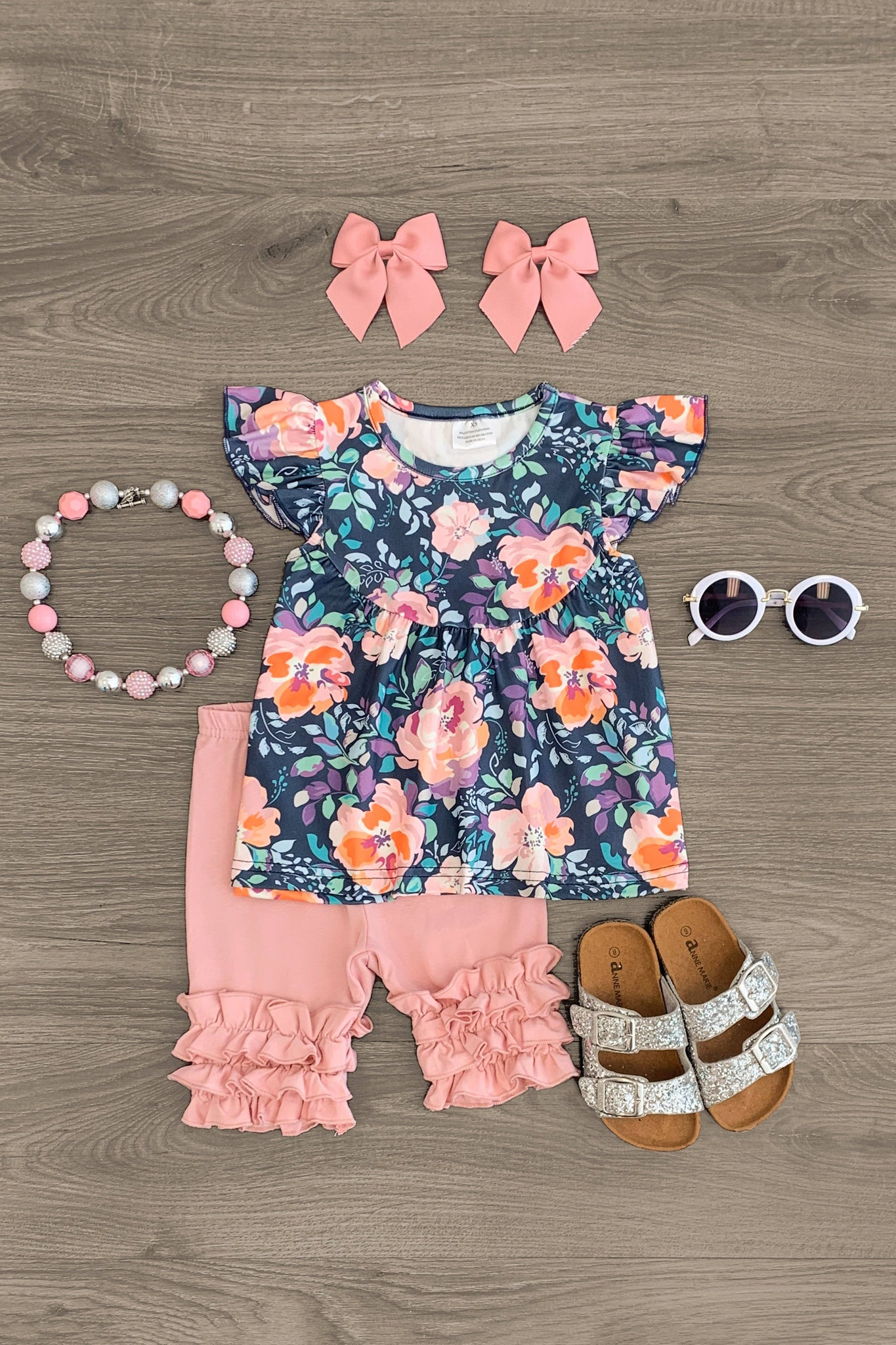 Charcoal & Blush Floral Ruffle Capri Set Outfit Sparkle In Pink