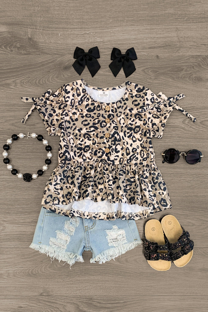 Cheetah Hi Low Tunic Denim Short Set Outfit Sparkle In Pink
