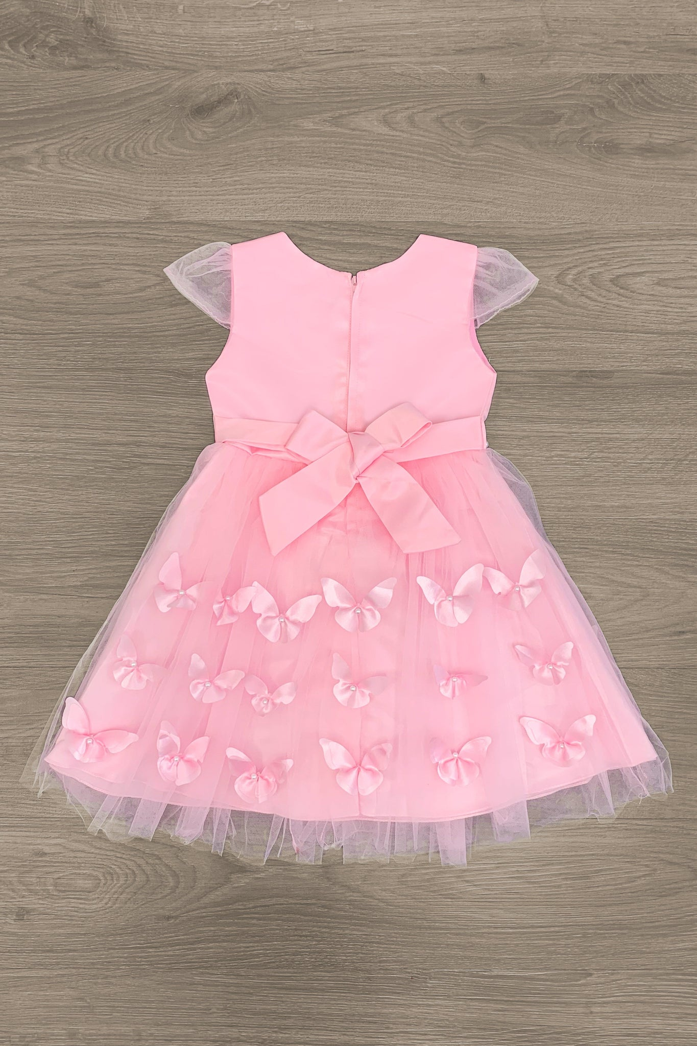 DELUXE - Butterflies & Pearls Tulle Dress - Light Pink - Sparkle in Pink