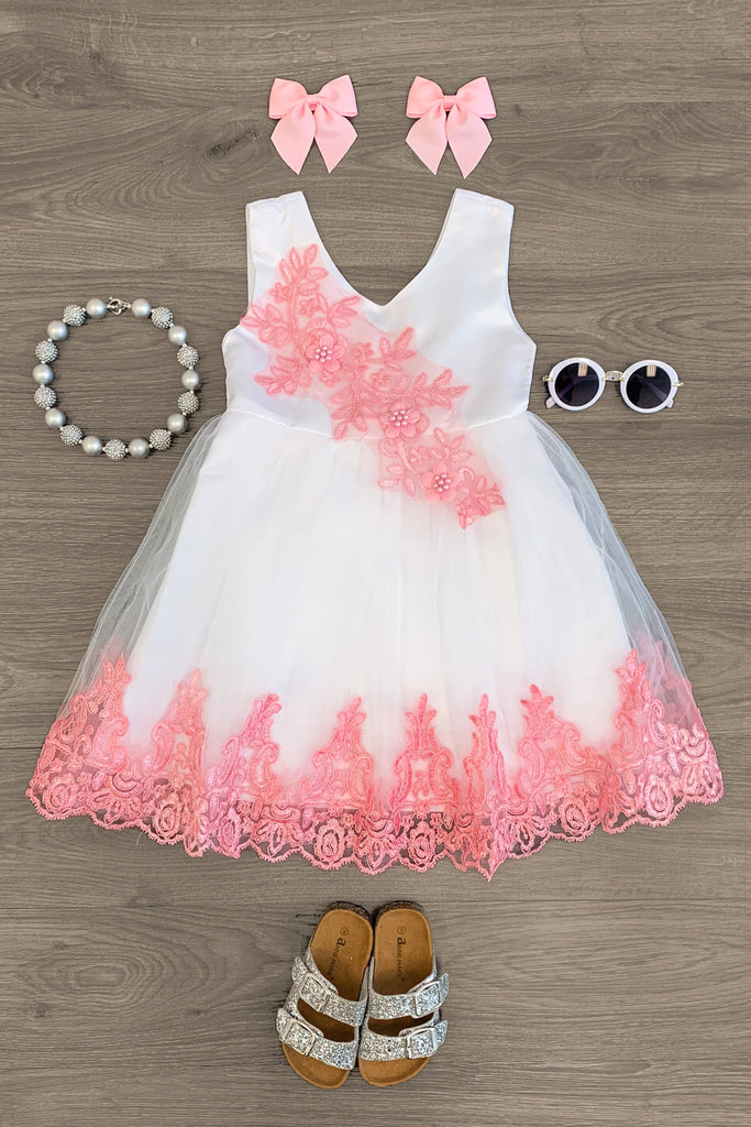 DELUXE- White & Pink Floral Pearl Dress Dress Sparkle In Pink