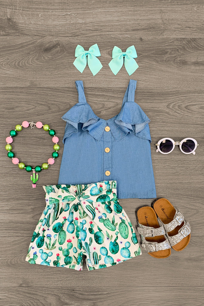 Denim Cactus Tie Short Set Outfit Sparkle In Pink