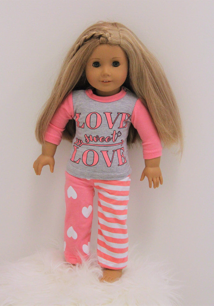 "Doll & Me - ""Love Sweet Love"" Jammies Valentines Sparkle In Pink"