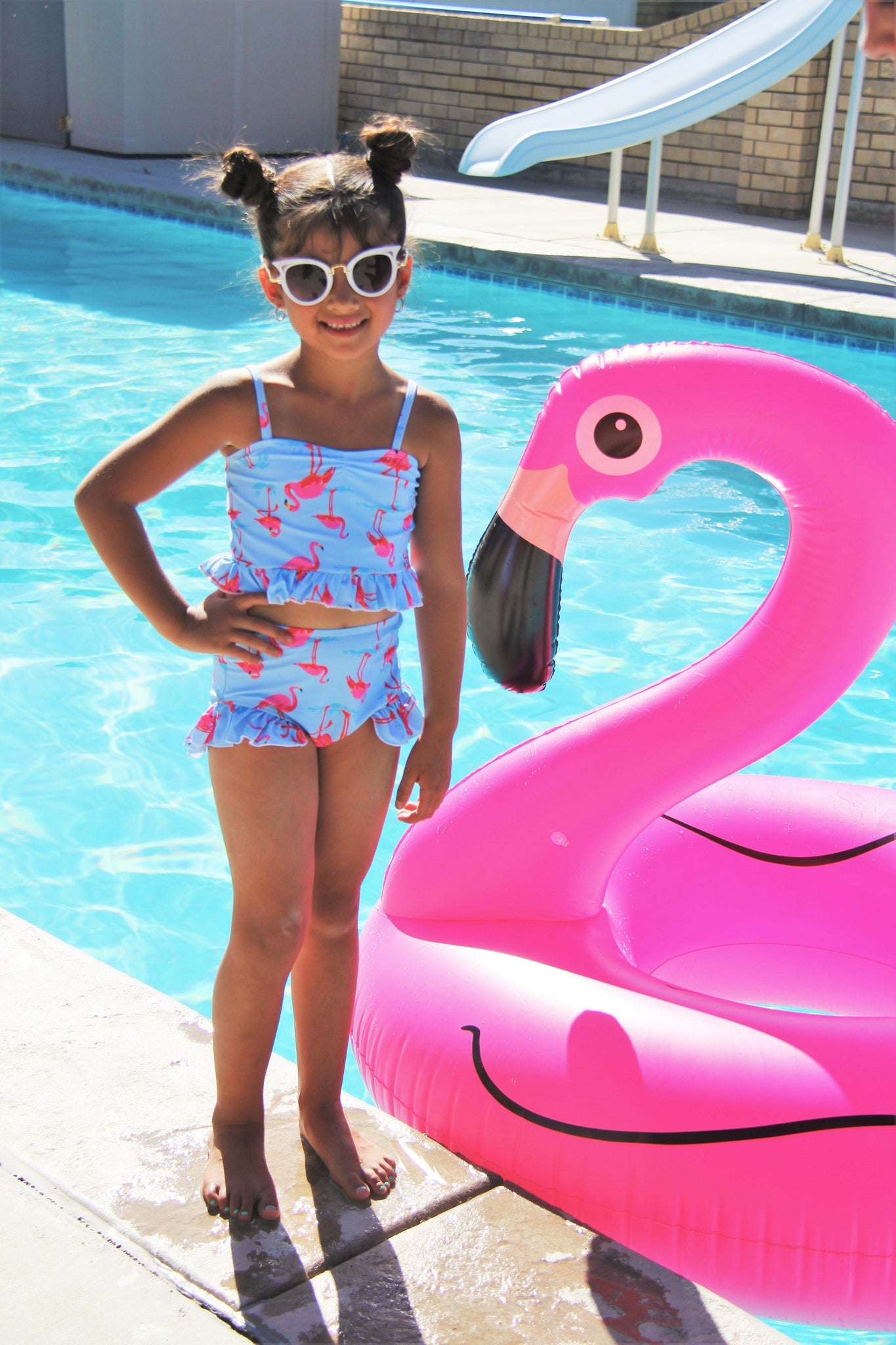 Flamingo High-Waisted Swimsuit Set- hide - Sparkle in Pink