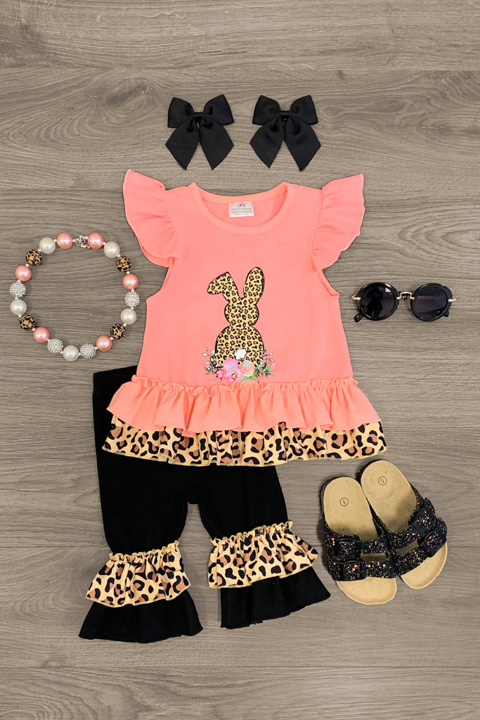 Floral Cheetah Bunny Ruffle Capri Set Outfit Sparkle In Pink