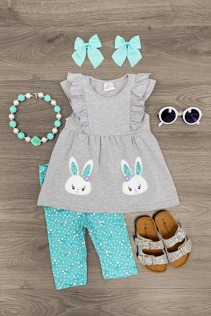 Gray & Mint Bunny Boutique Set - Sparkle in Pink