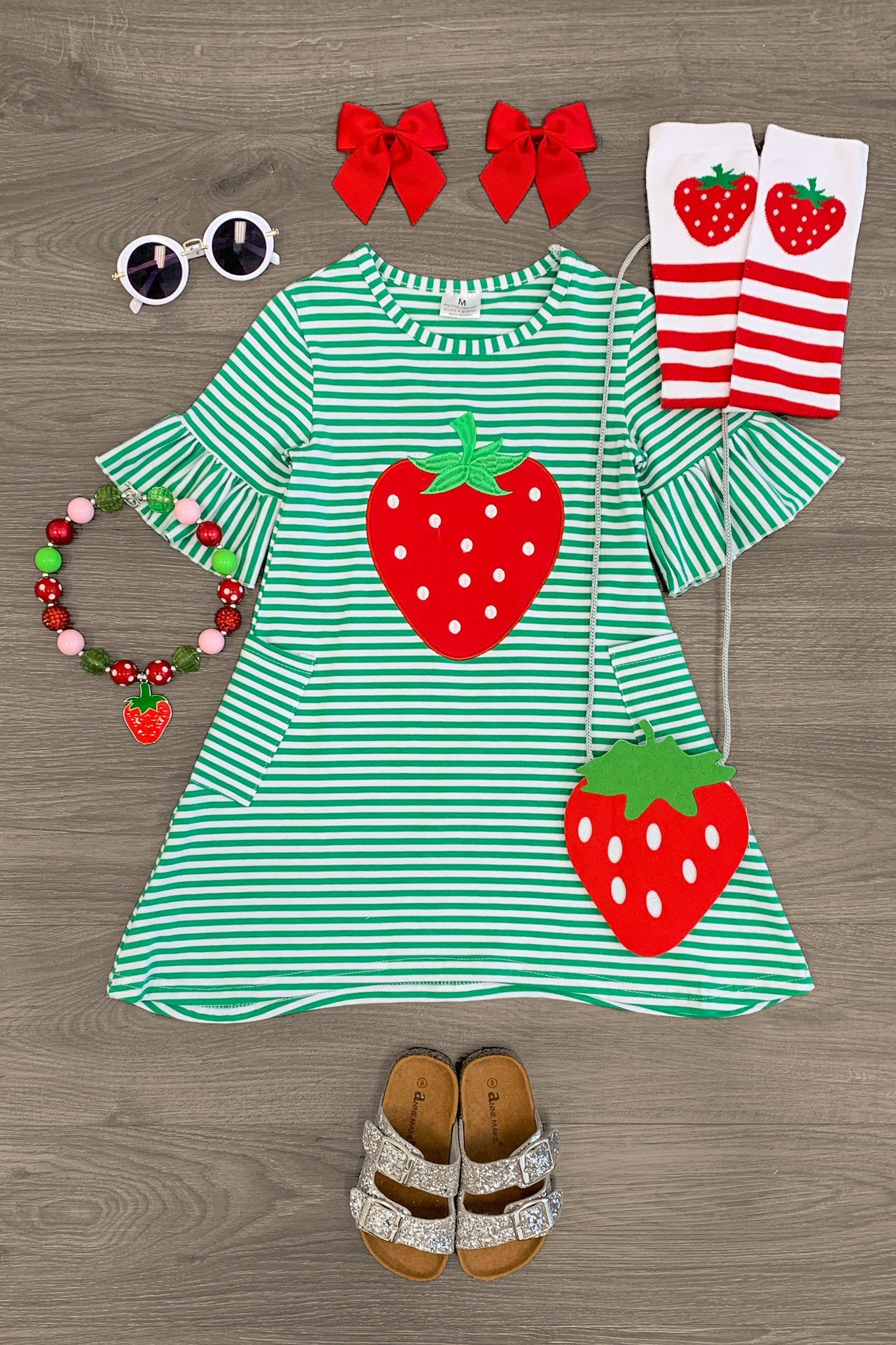Green & White Striped Strawberry Short Sleeve Dress Dress Sparkle In Pink