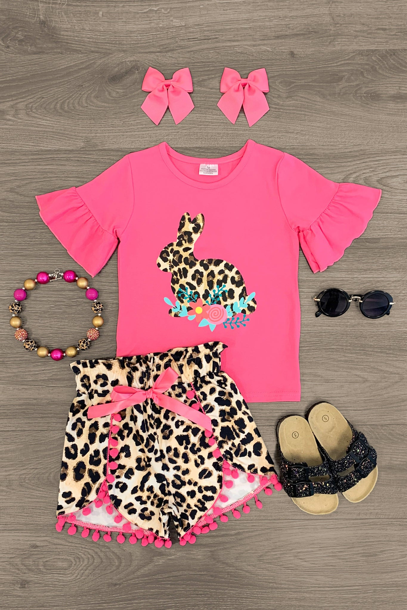 Hot Pink Cheetah Bunny Pom Pom Short Set - Sparkle in Pink