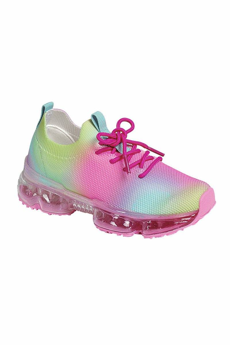 Hot Pink & Rainbow Air Bubble Sneakers Footwear Sparkle In Pink