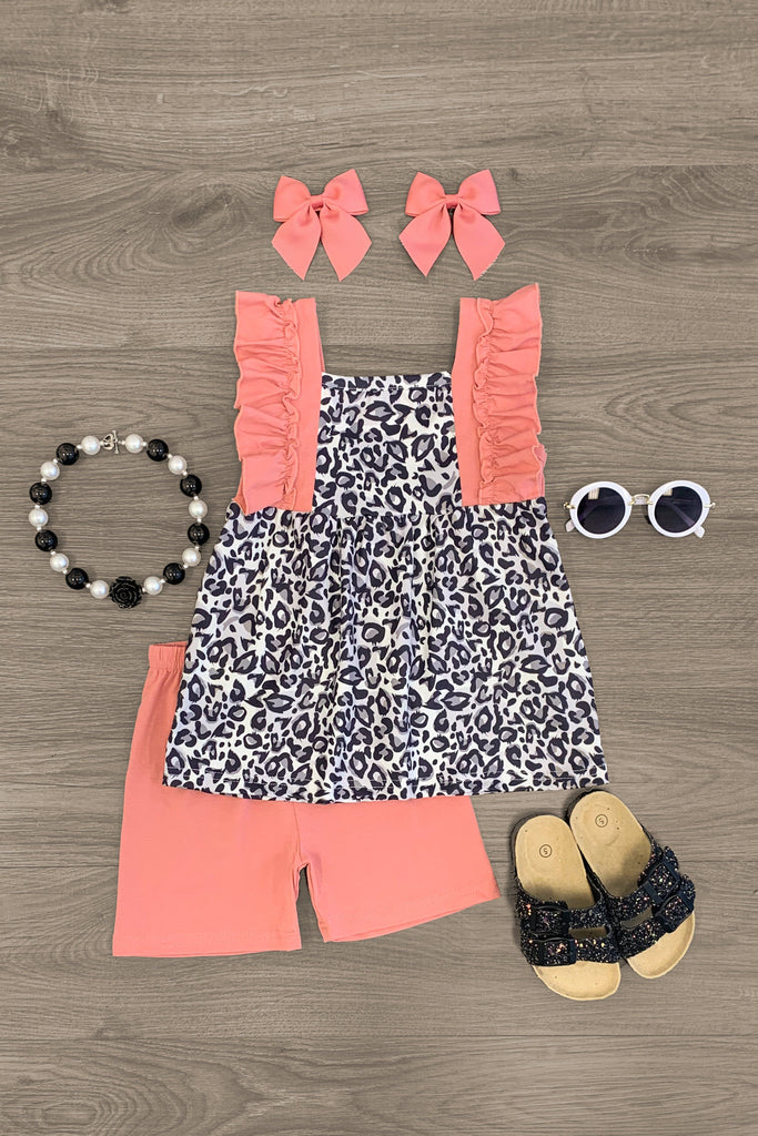Leopard Blush Short Set Outfit Sparkle In Pink