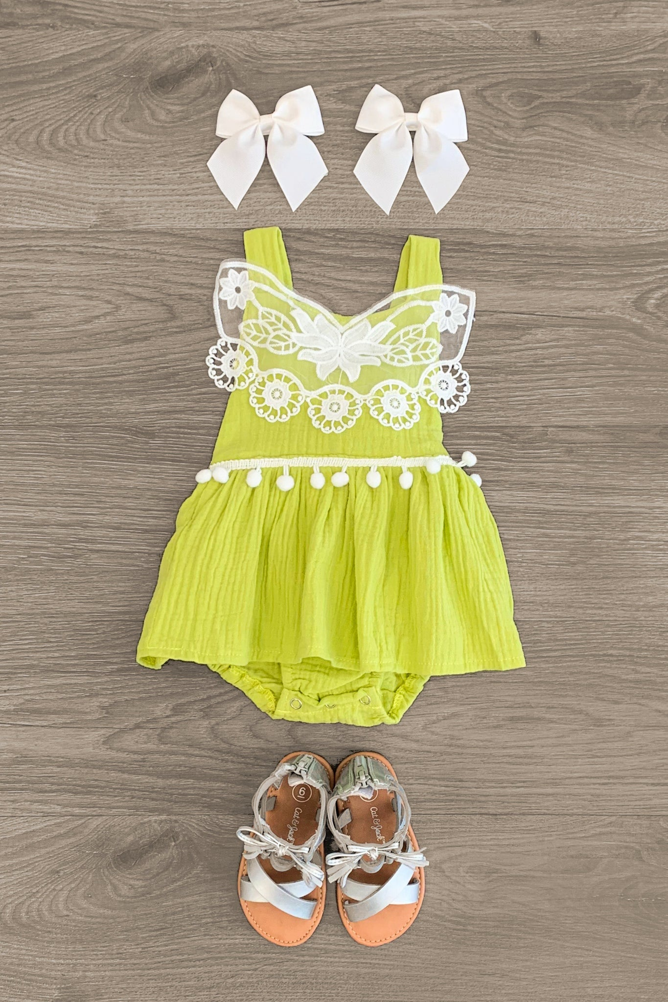 Lime Green Lace Infant Onesie Baby Sparkle In Pink