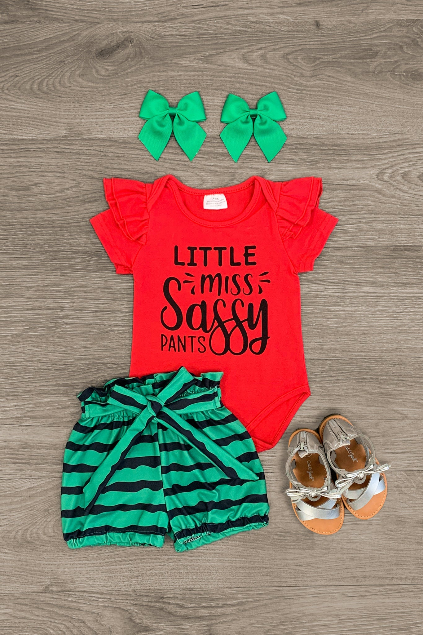 """Little Miss Sassy Pants"" Watermelon Baby Romper Set - Sparkle in Pink"