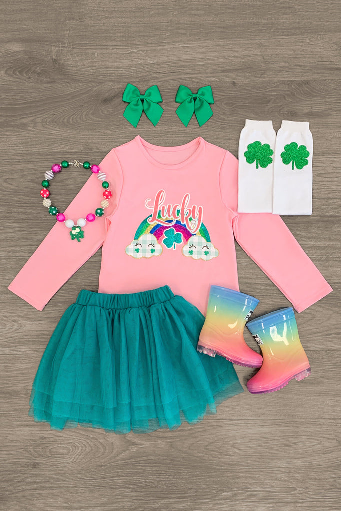 """Lucky"" Green & Pink Tutu Skirt Set - Sparkle in Pink"