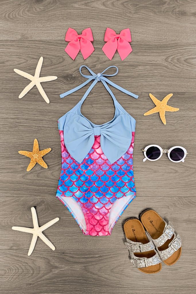 Mermaid Swimsuit Set - 1 Piece - Sparkle in Pink
