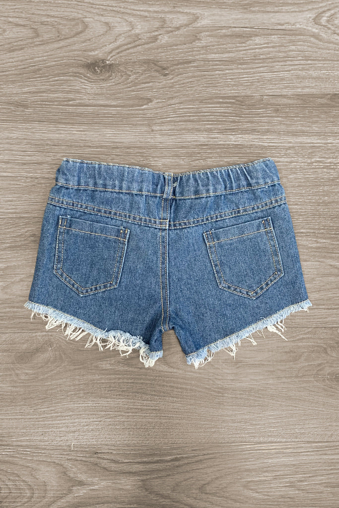 Mid-Wash Distressed Denim Shorts Bottom Sparkle In Pink