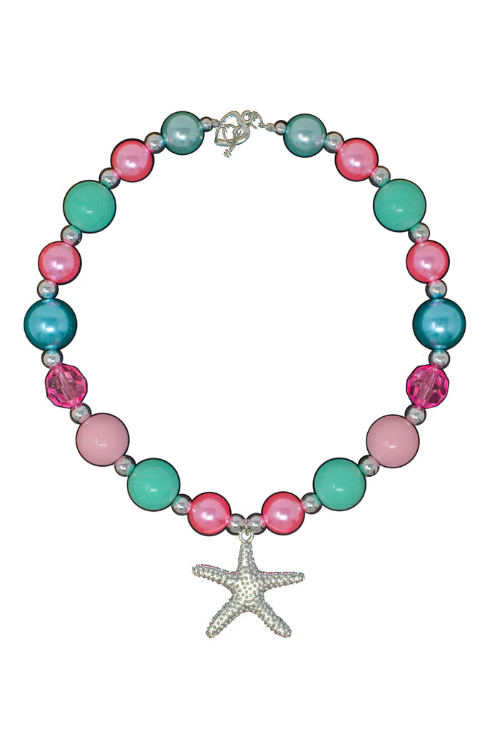 Mint, Pink & Silver Sea Star Bubblegum Necklace Accessory Sparkle In Pink