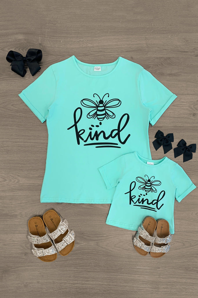 "Mom & Me - ""Bee Kind"" Mint Short Sleeve Top Mom & Me Sparkle In Pink"