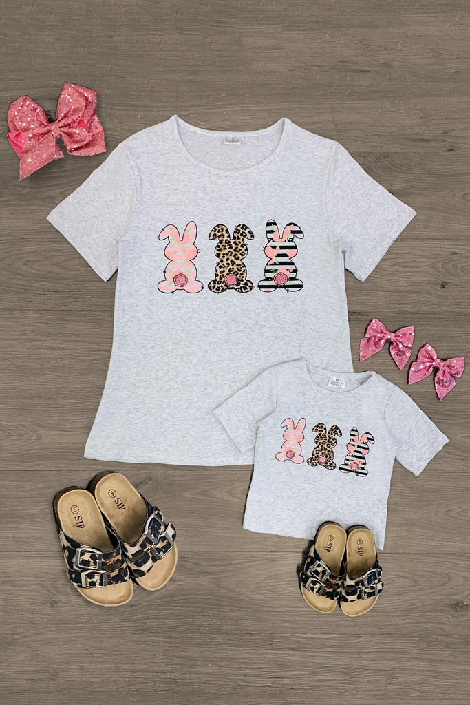 Mom & Me - Bunny Trio Top - Sparkle in Pink
