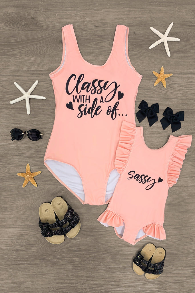 "Mom & Me - ""Classy With A Side... Of Sassy"" Swimsuit Mom & Me Sparkle In Pink"