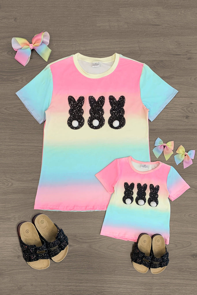 Mom & Me - Pastel & Black Sequin Bunny Trio Top - RESTOCKED! Mom & Me Sparkle In Pink
