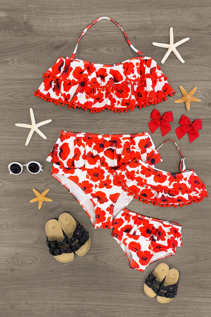 Mom & Me - Red & White Poppies Ruffle Bikini Mom & Me Sparkle In Pink