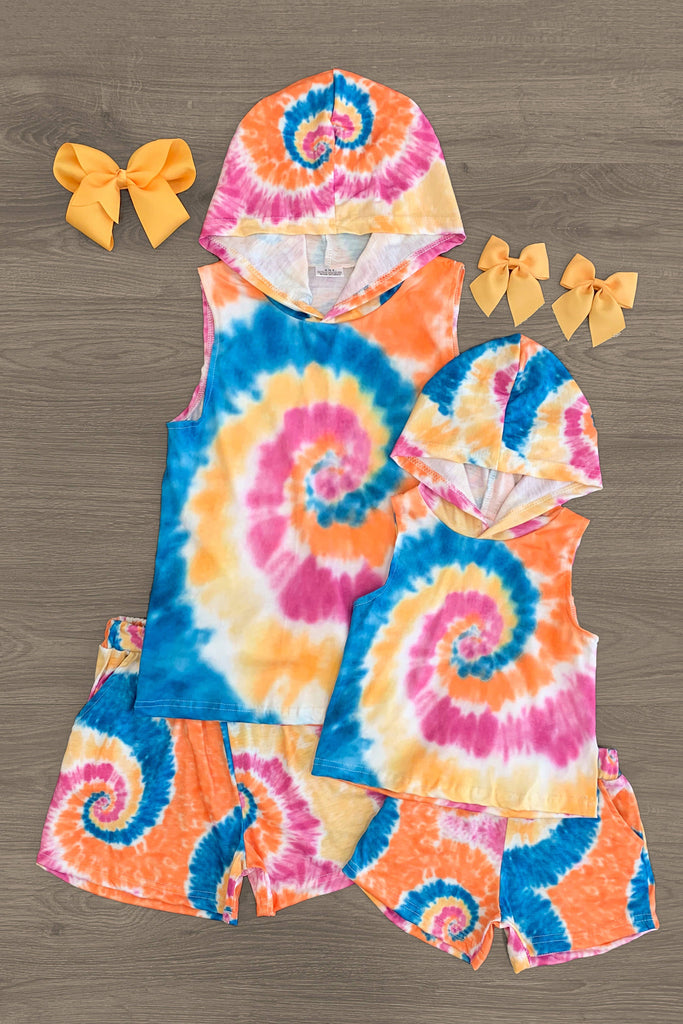 Mom & Me - Sunset Spiral Tie Dye Sleeveless Lounge Hoodie Set Mom & Me Sparkle In Pink