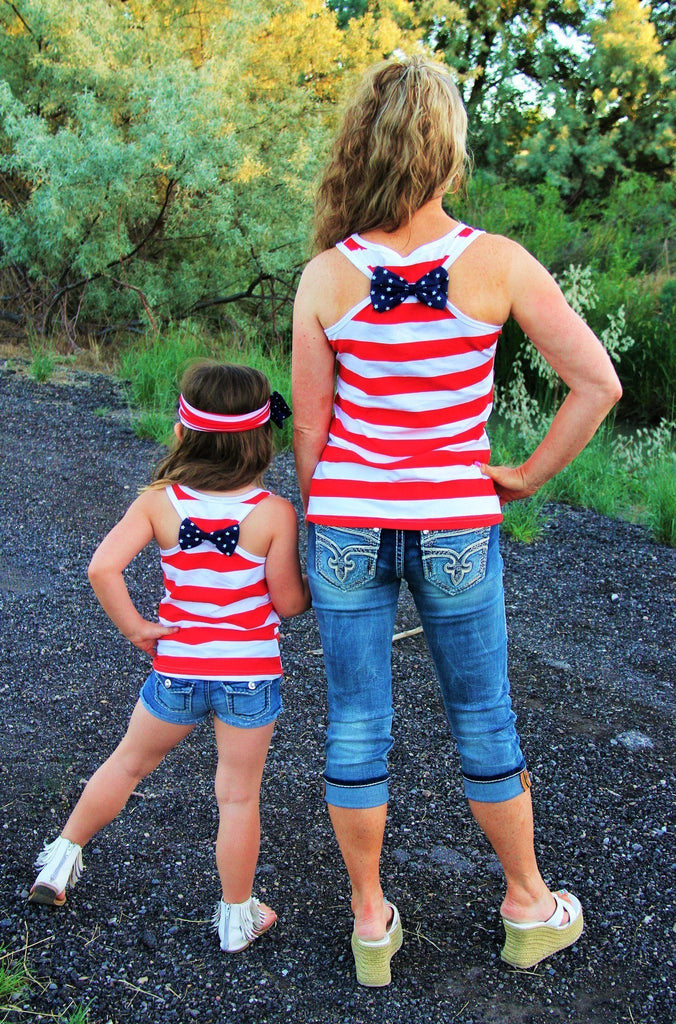 Mommy & Me - Red Stripe Tank Top - Sparkle in Pink