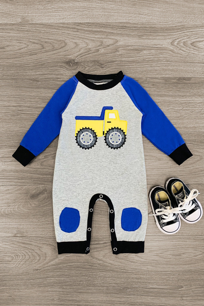 Monster Truck Yellow & Blue Romper - Sparkle in Pink