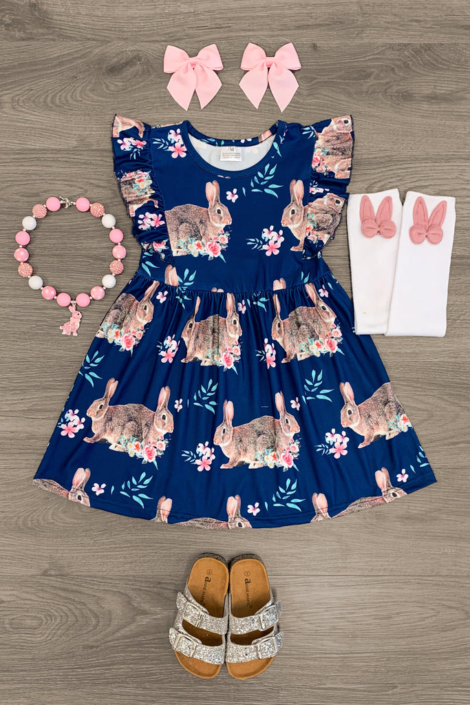 Navy Floral Bunny Dress Dress Sparkle In Pink