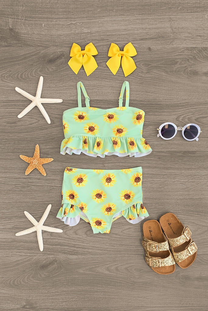 Pale Green Ruffle Sunflower Swim Suit Set Swimsuit Sparkle In Pink