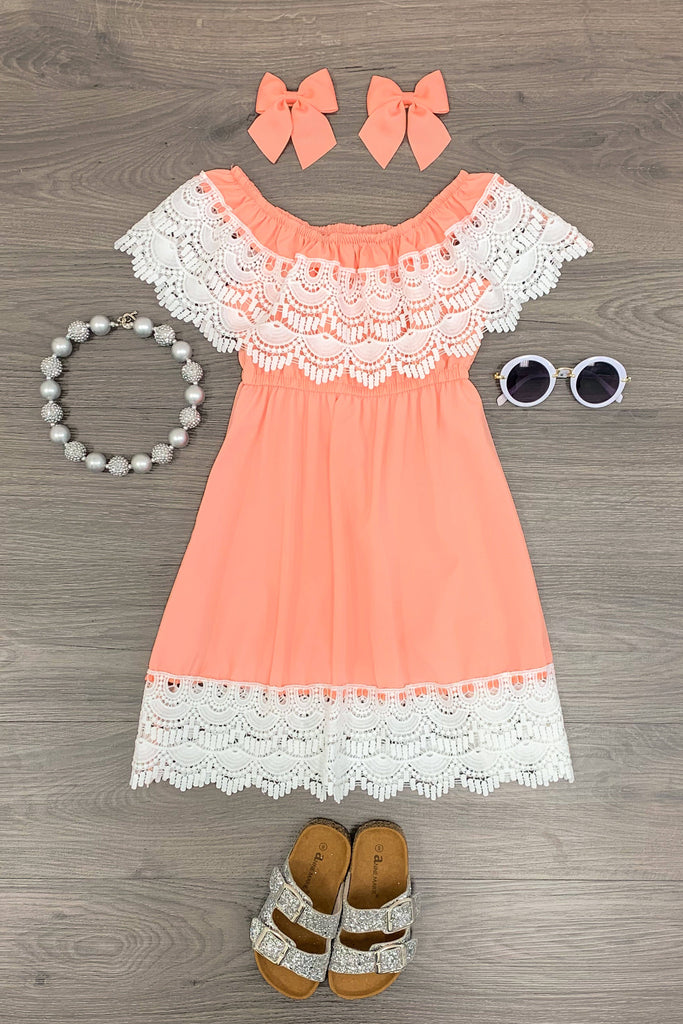 Peach Lace Cold Shoulder Dress Dress Sparkle In Pink