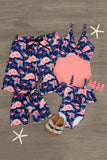 Pink & Blue Flamingo Family Swimsuits Swimsuit Sparkle In Pink