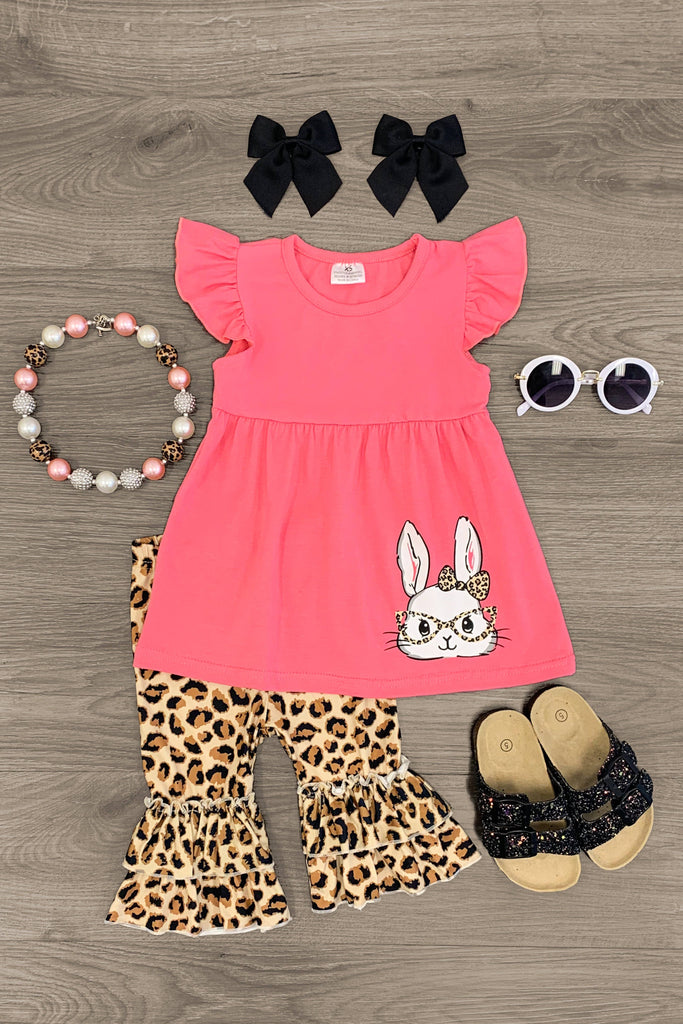 Pink Bunny With Cheetah Glasses Ruffle Capri Set - Sparkle in Pink