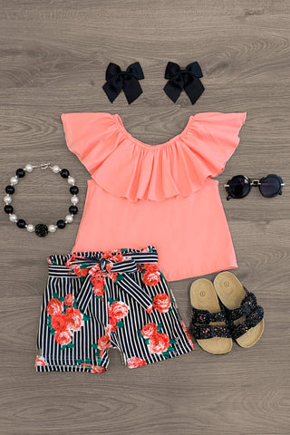 Baby Sun Hat Pinlk Ruffled Striped Short Pant Baby Girls Summer Outfits Set Red Floral Tank Tops with Tassel