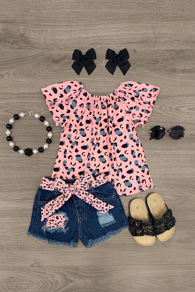 Pink & Gray Cheetah Denim Short Set - Sparkle in Pink