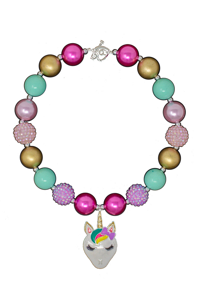 Pink, Mint & Gold Unicorn Bubblegum Necklace Accessory Sparkle In Pink