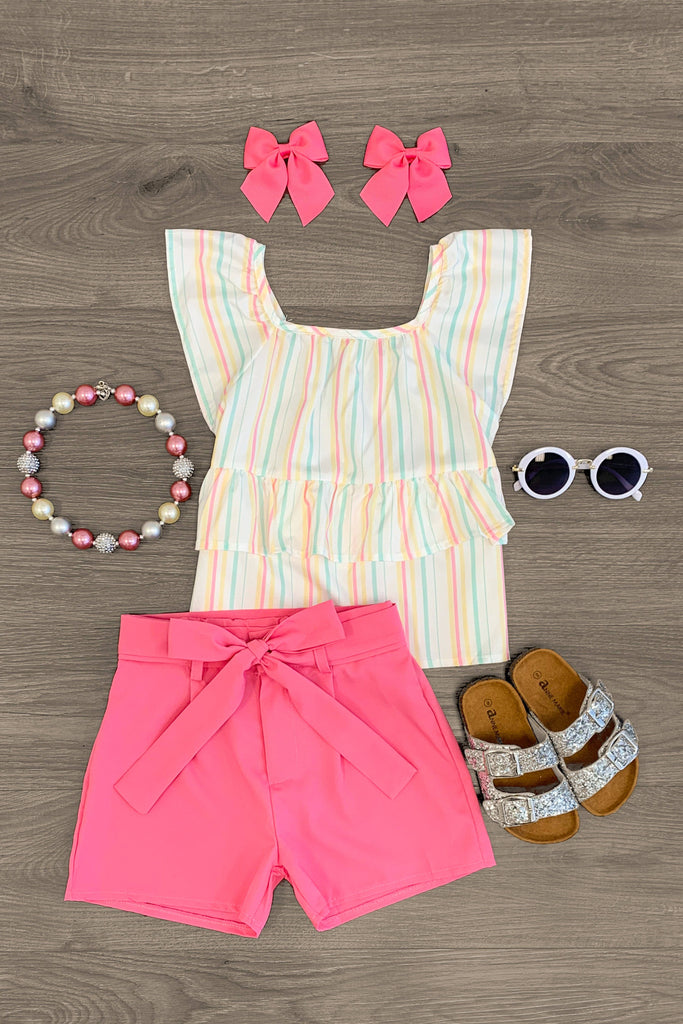 Pink Pastel Striped Short Set Outfit Sparkle In Pink