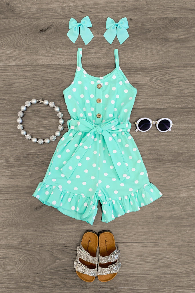 Polka Dot Ruffle Tank Romper - MANY COLORS! Romper Sparkle In Pink