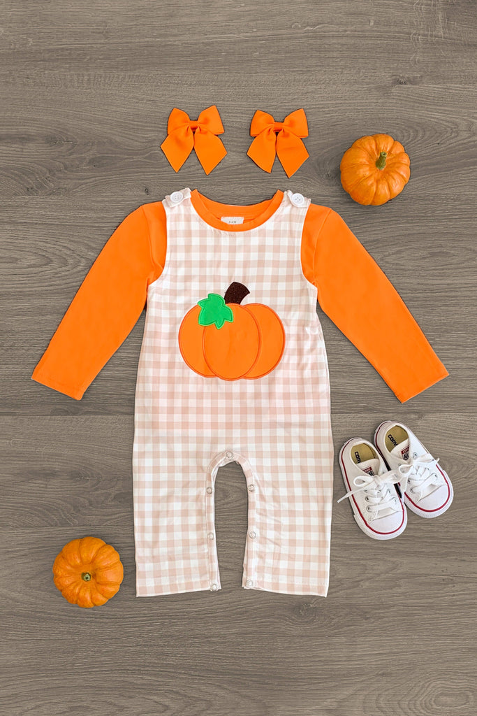 Pumpkin Overall Romper Set - GENDER NEUTRAL - Sparkle in Pink
