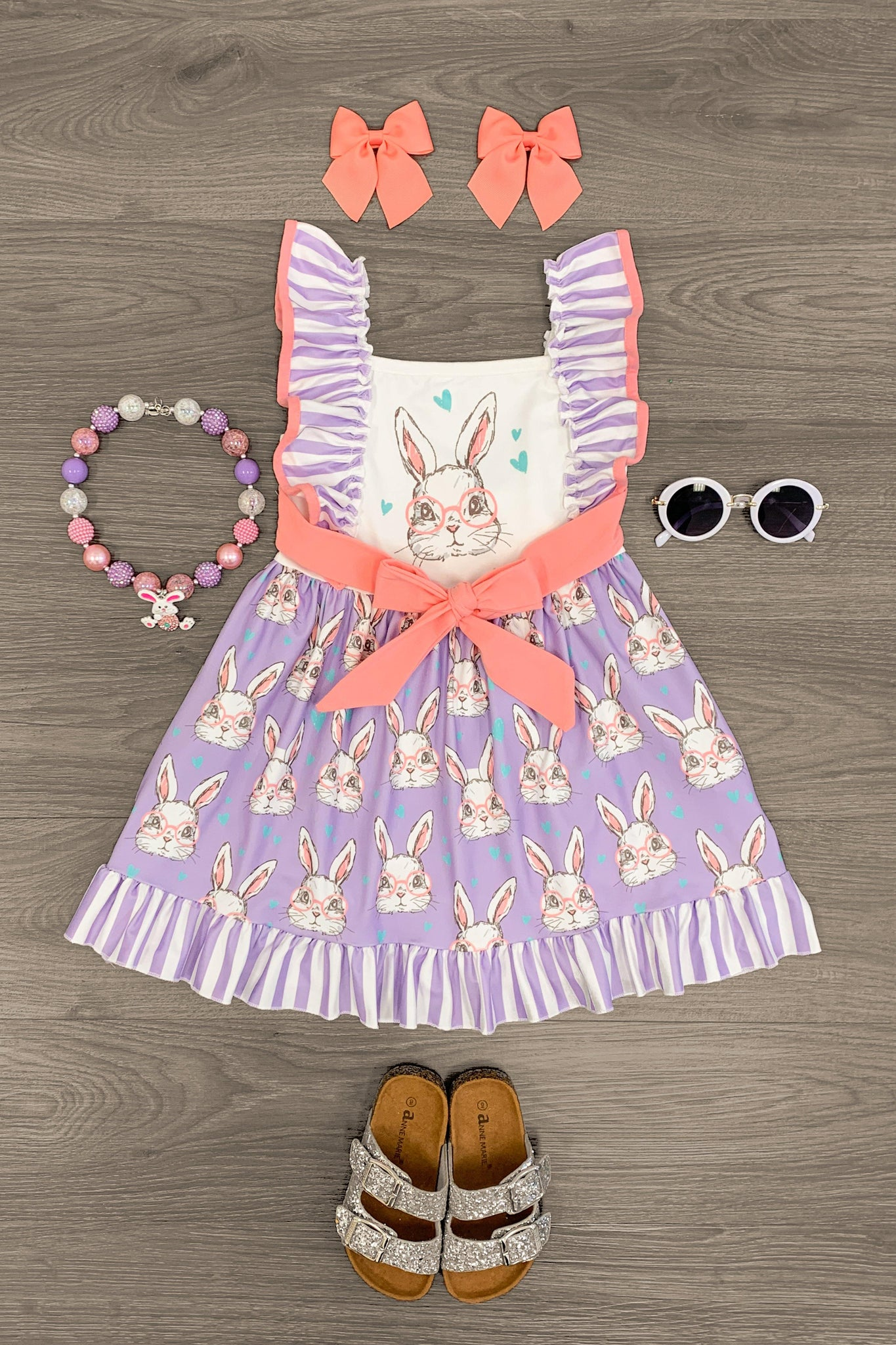 Purple & Pink Bunny With Glasses Dress - Sparkle in Pink