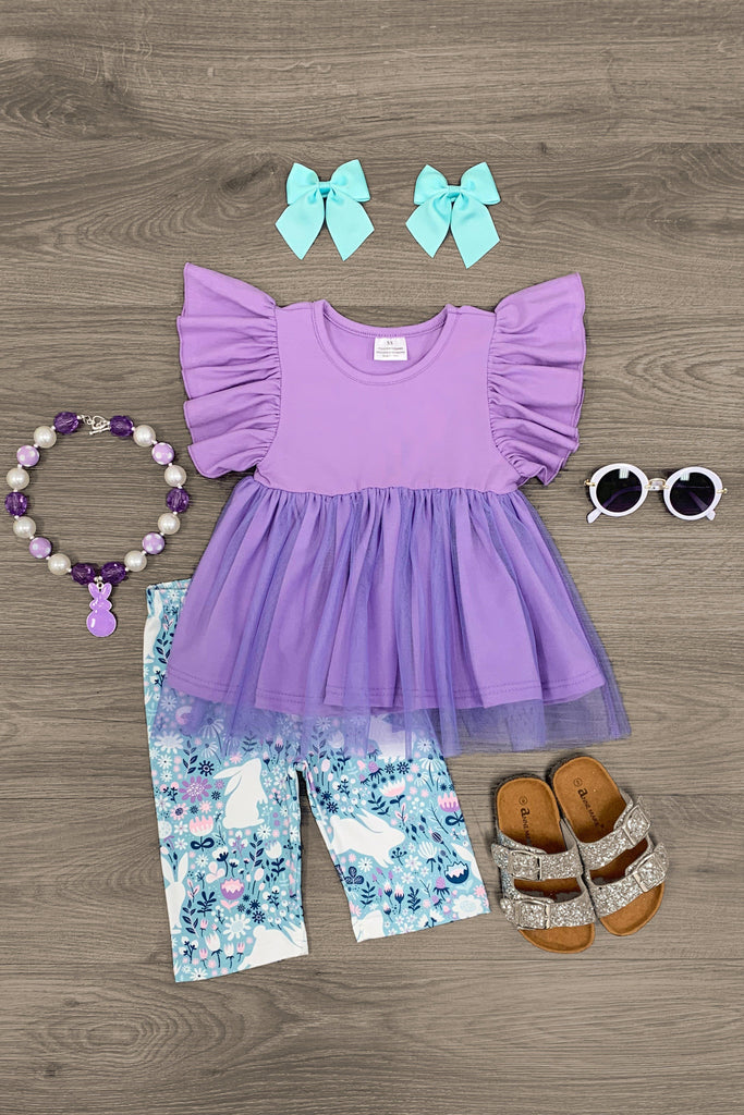 Purple Tulle Tunic Bunny Capri Set - Sparkle in Pink