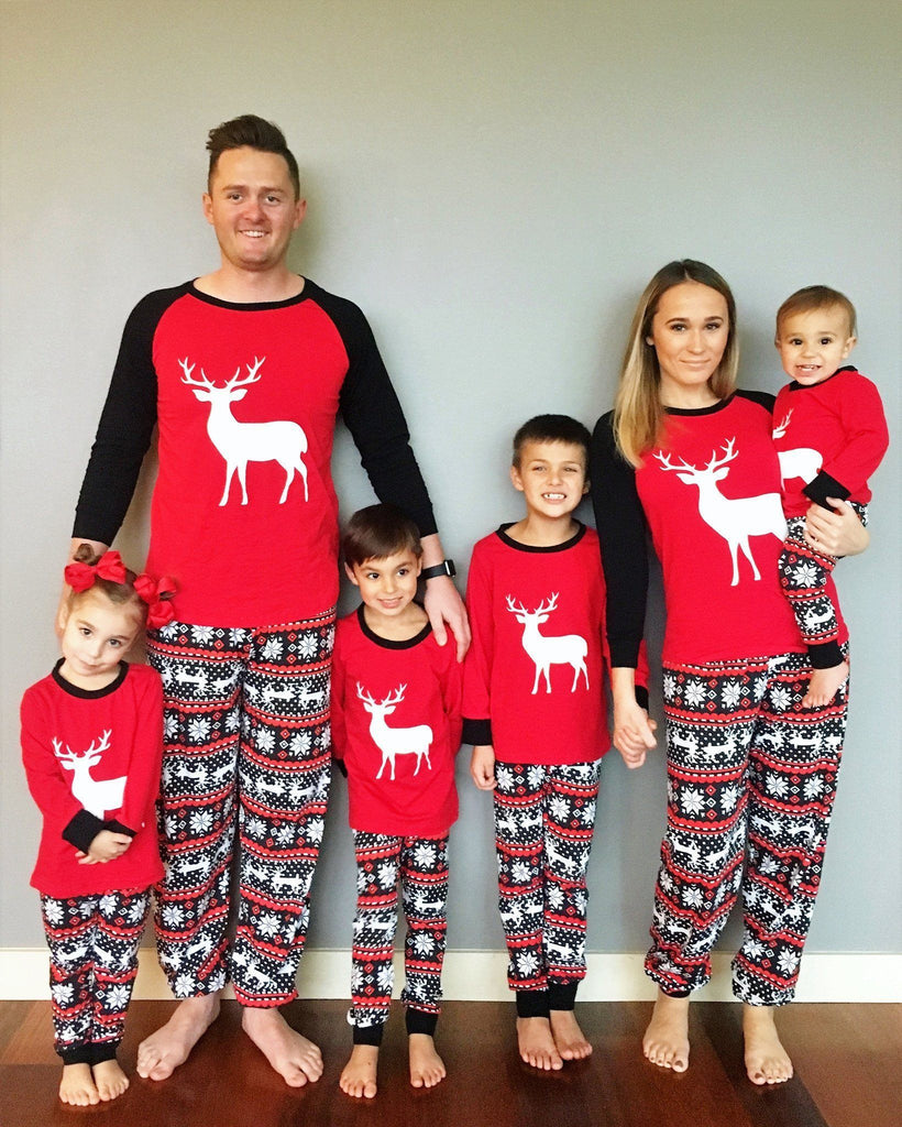 Red Black Deer Family Christmas Pajamas Family Christmas Pajamas Sparkle in Pink