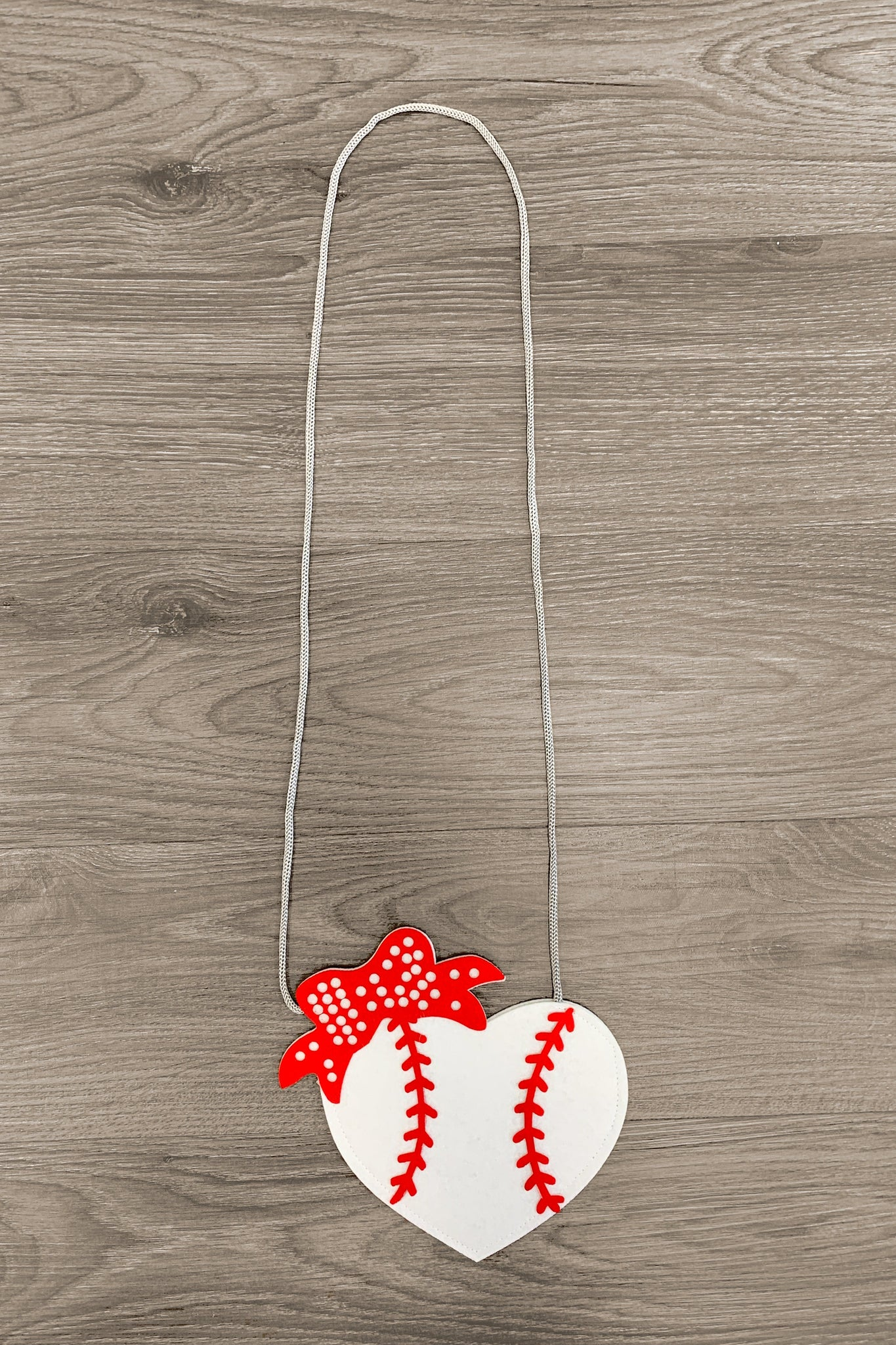 Red & White Baseball Heart Purse Accessory Sparkle In Pink