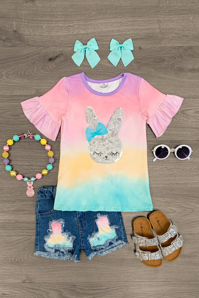 Sequin Bunny Pastel Tie Dye Short Set Outfit Sparkle In Pink