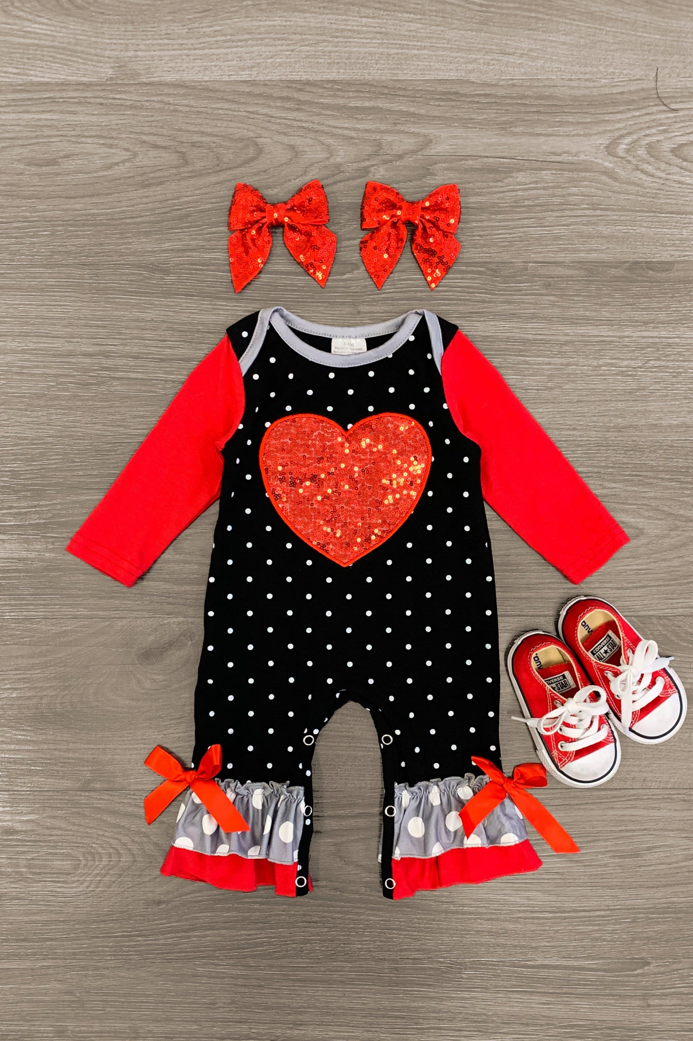 Sequin Heart Black & Red Polka Dot Ruffle Romper - Sparkle in Pink