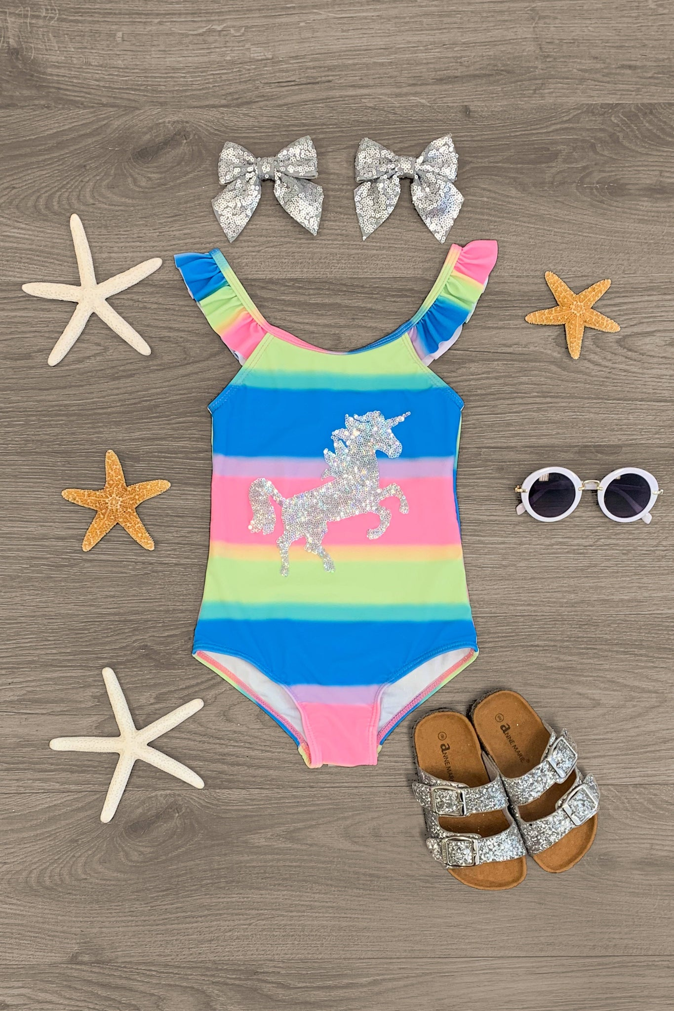 Sequin Unicorn Rainbow Swimsuit Set - 1 Piece Swimsuit Sparkle In Pink
