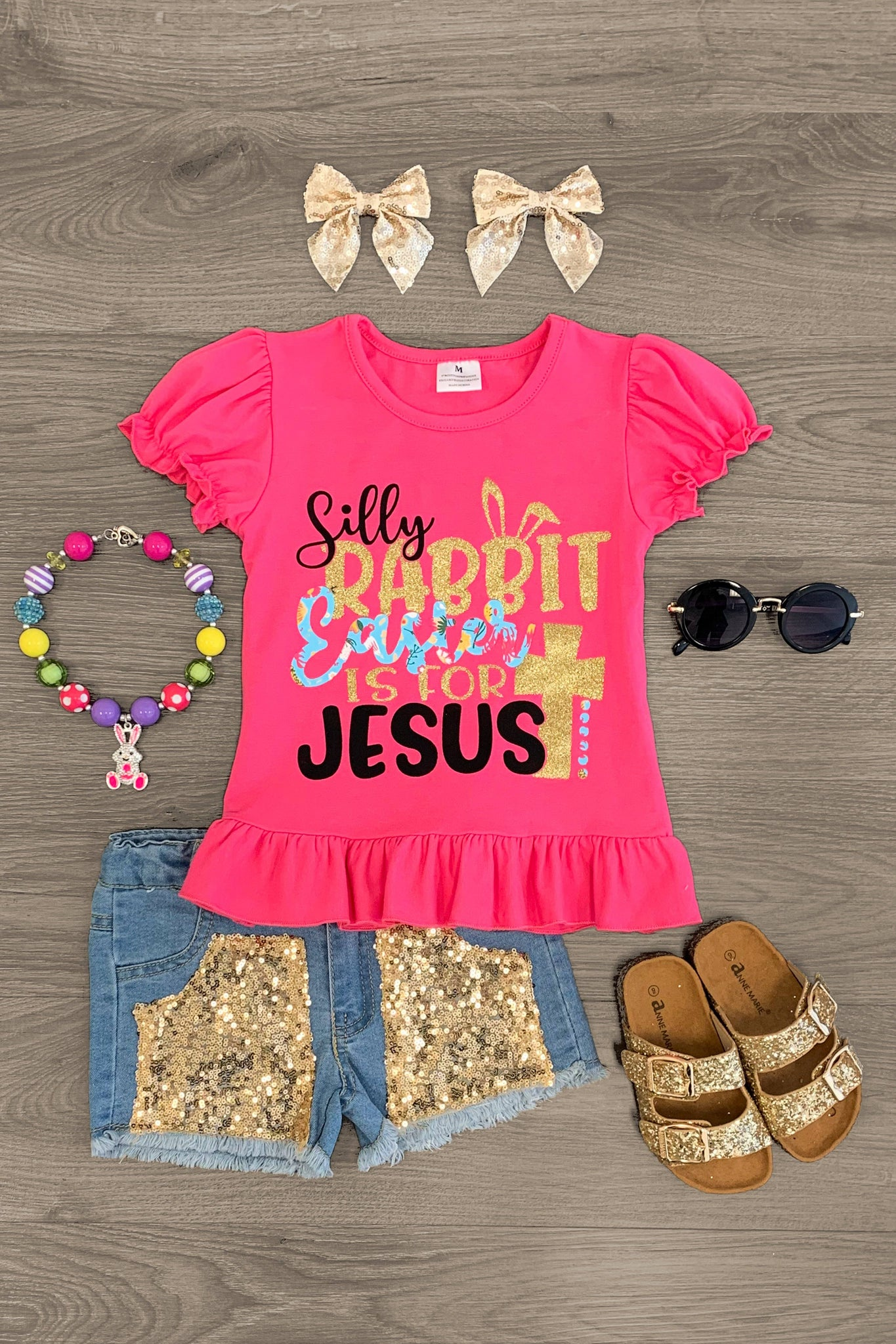 """Silly Rabbit Easter is for Jesus"" Pink & Gold Denim Short Set Outfit Sparkle In Pink"