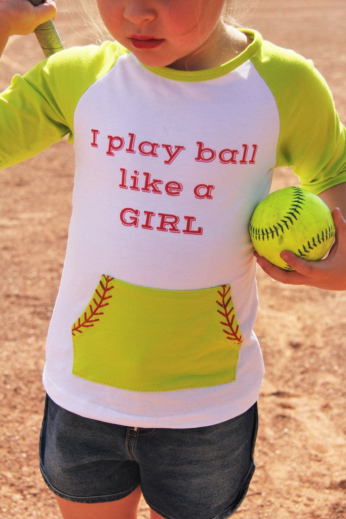"SOFTBALL ""I Play Ball Like a Girl"" 3/4 Sleeve Top - Sparkle in Pink"