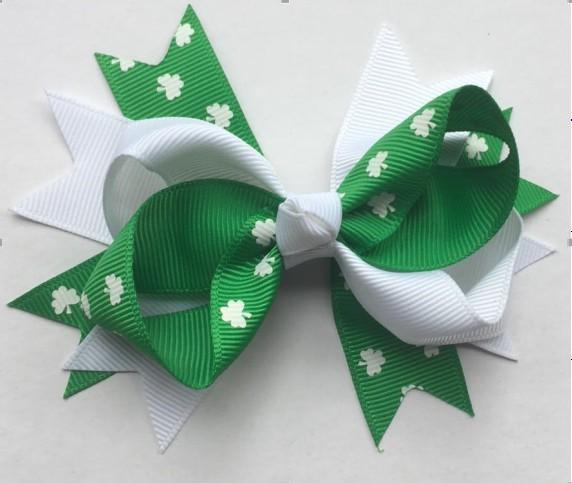 St. Patricks Twist Bow - Sparkle in Pink
