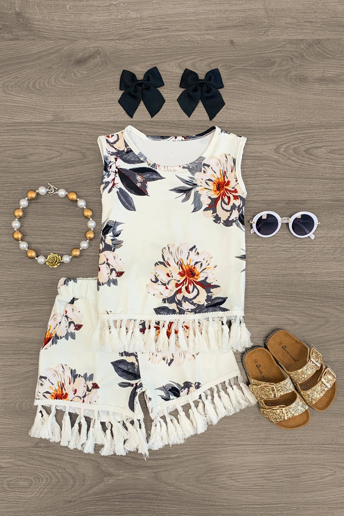 White Floral Tassel Tank Top Short Set Outfit Sparkle In Pink