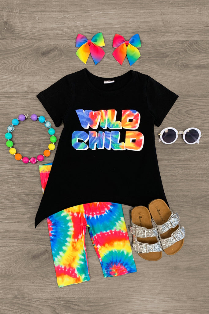 """Wild Child"" Tie Dye Legging Set Outfit Sparkle In Pink"